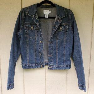 Calvin Klein Jeans cropped dark wash denim jacket
